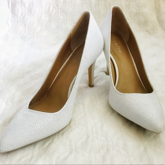 Calvin Klein Gayle white textured leather pumps